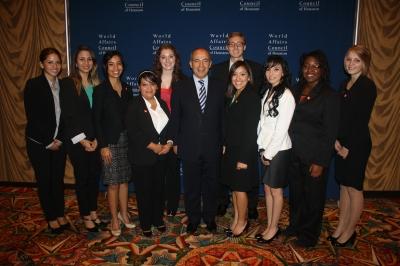 President Calderon with SHSU Students