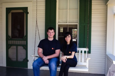 Coby and Jessica on the Porch of LBJ's Boyhood Home