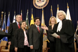 Alberto Gonzales with Bush and Sandra Day O'Connor
