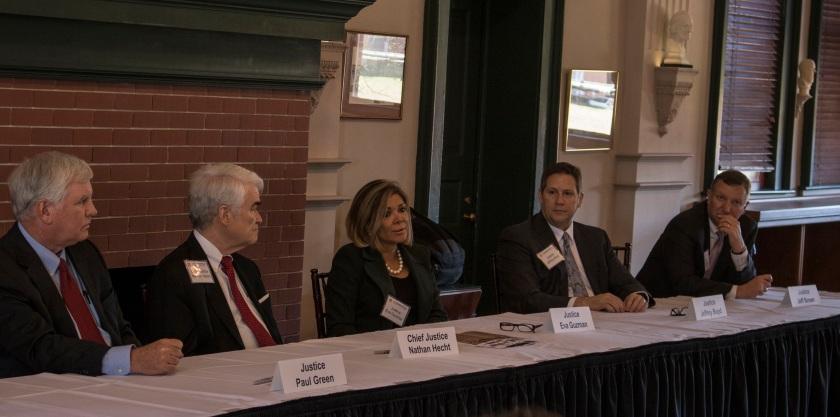 Texas Supreme Court, Center for Law Engagement And Politics, LEAP Center, SHSU, Eva Guzman, Nathan Hecht, Jeff Boyd