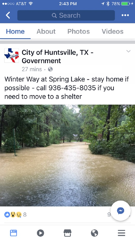 Hurricane Harvey, Flooding, Huntsville TX, LEAP Center