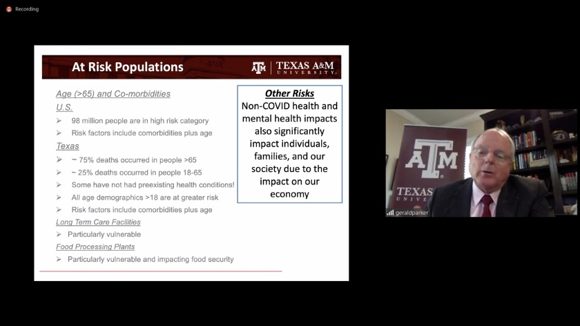SHSU, LEAP Center, Center for Law Engagement And Politics, COVID, Coronavirus, TAMU, Bush School of Government and Public Service, Scowcroft Institute, Dr. Gerald Parker