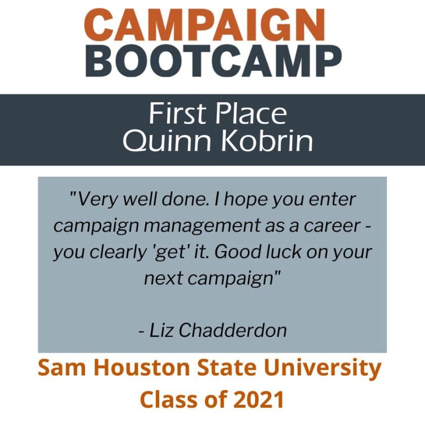 SHSU, LEAP Center, Campaign Bootcamp, New Politics Forum, Annette Strauss Institute, Quinn Kobrin