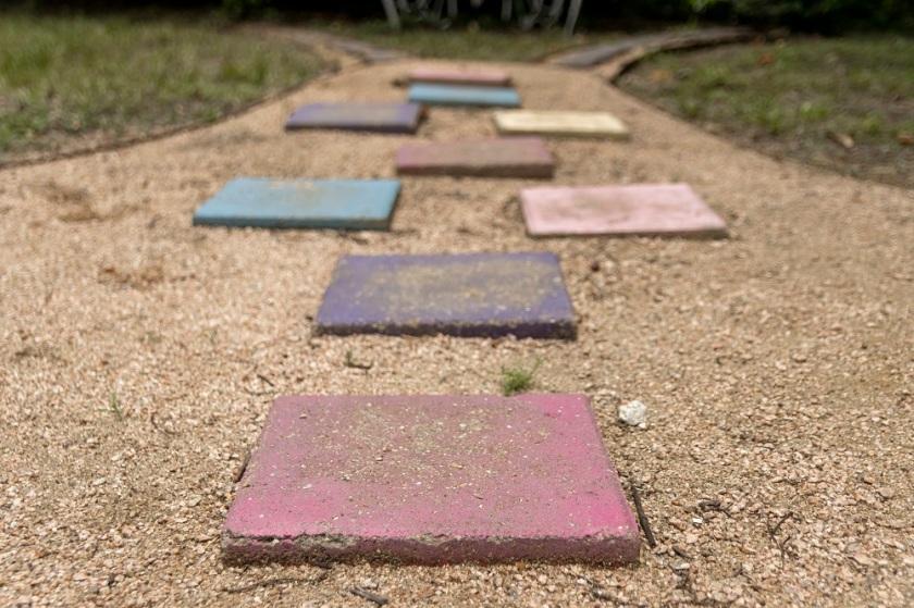 Hopscotch stones for the Wynne Home's Sensory Children's Garden.